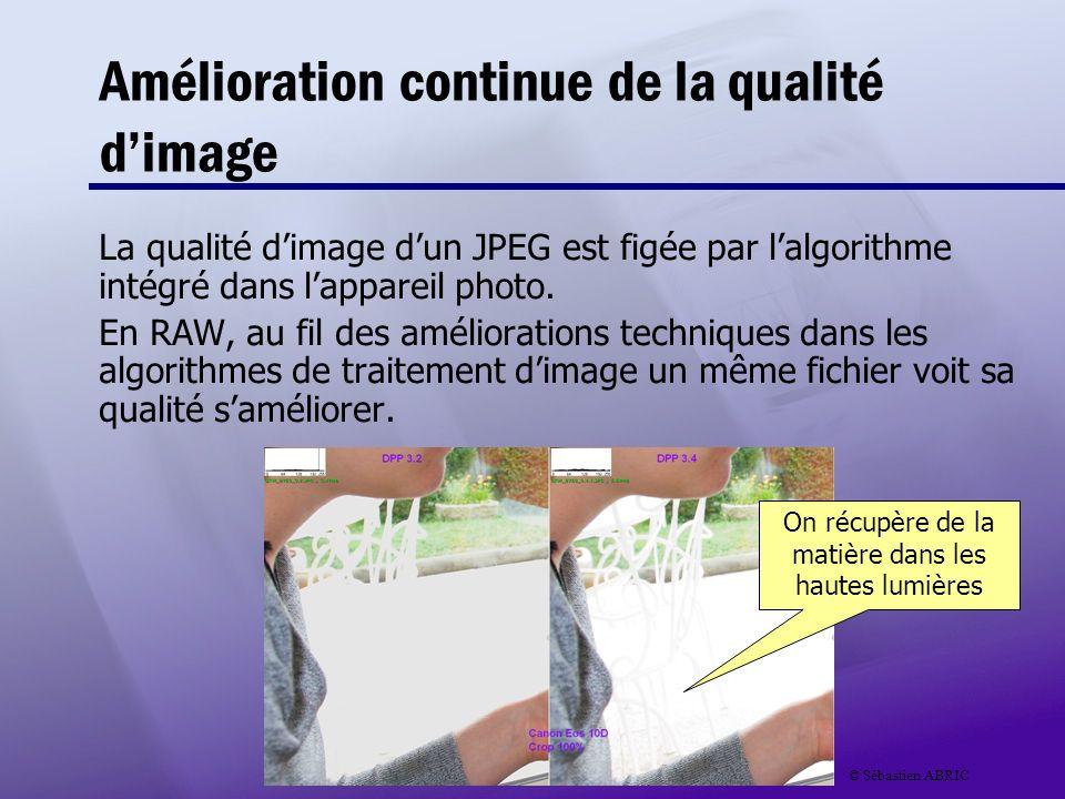 Amélioration continue de la qualité dimage La qualité dimage dun JPEG est figée par lalgorithme intégré dans lappareil photo. En RAW, au fil des améli