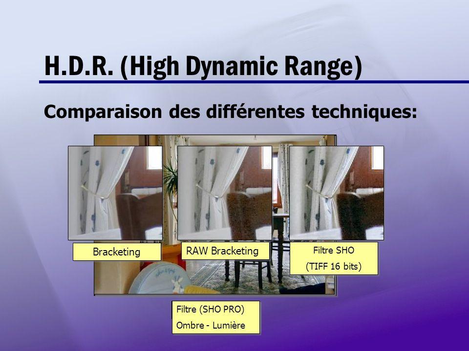 H.D.R. (High Dynamic Range) Comparaison des différentes techniques: Image de départ HDR Bracketing +/-2.0 IL HDR RAW Bracketing +/- 2.0 IL HDR RAW Bra