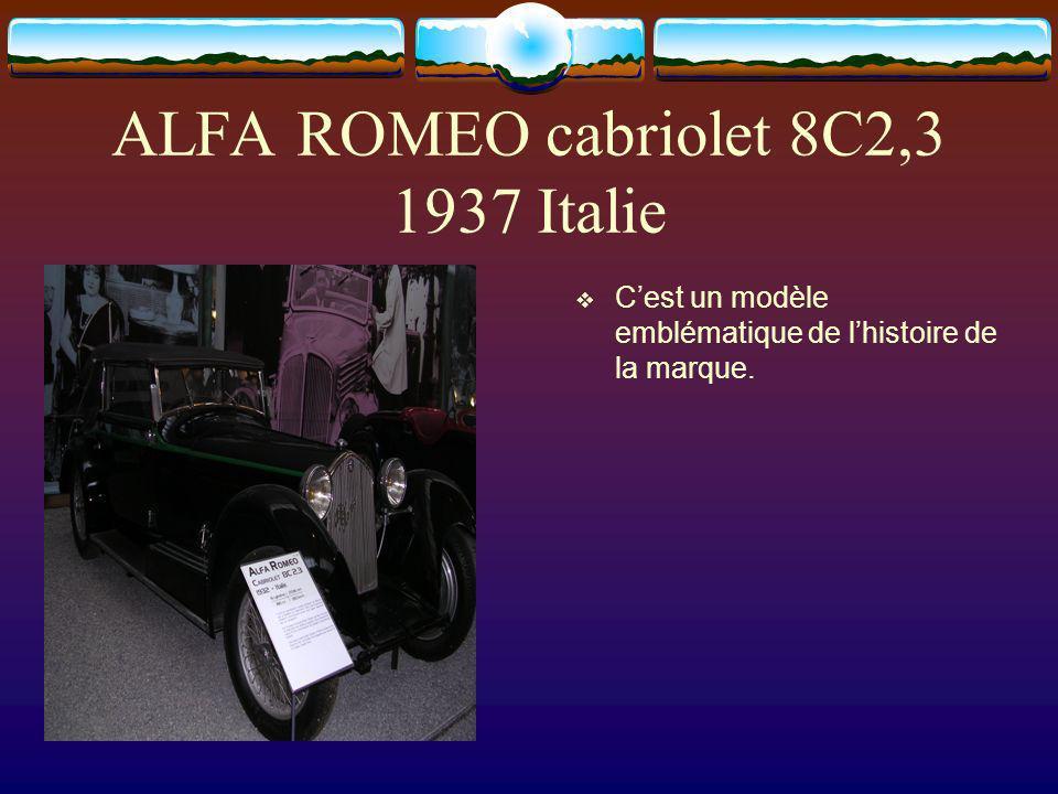 ALFA ROMEO cabriolet 8C2,3 1937 Italie Cest un modèle emblématique de lhistoire de la marque.