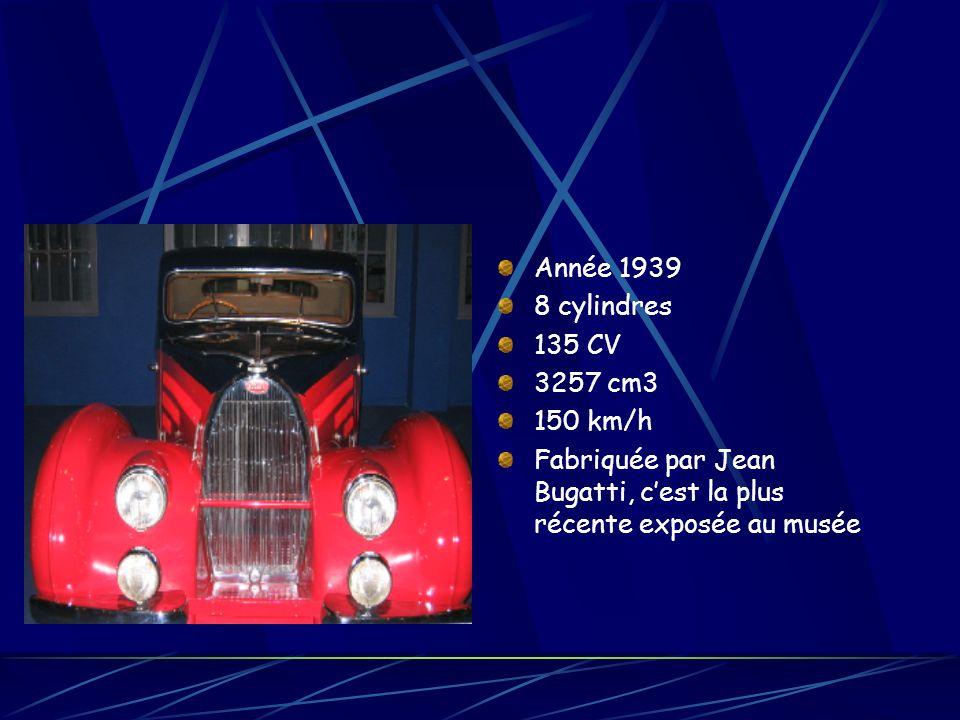 Année 1939 8 cylindres 135 CV 3257 cm3 150 km/h Fabriquée par Jean Bugatti, cest la plus récente exposée au musée