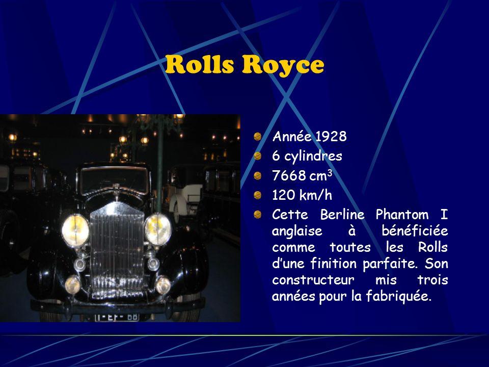 Rolls Royce Année 1928 6 cylindres 7668 cm 3 120 km/h Cette Berline Phantom I anglaise à bénéficiée comme toutes les Rolls dune finition parfaite.