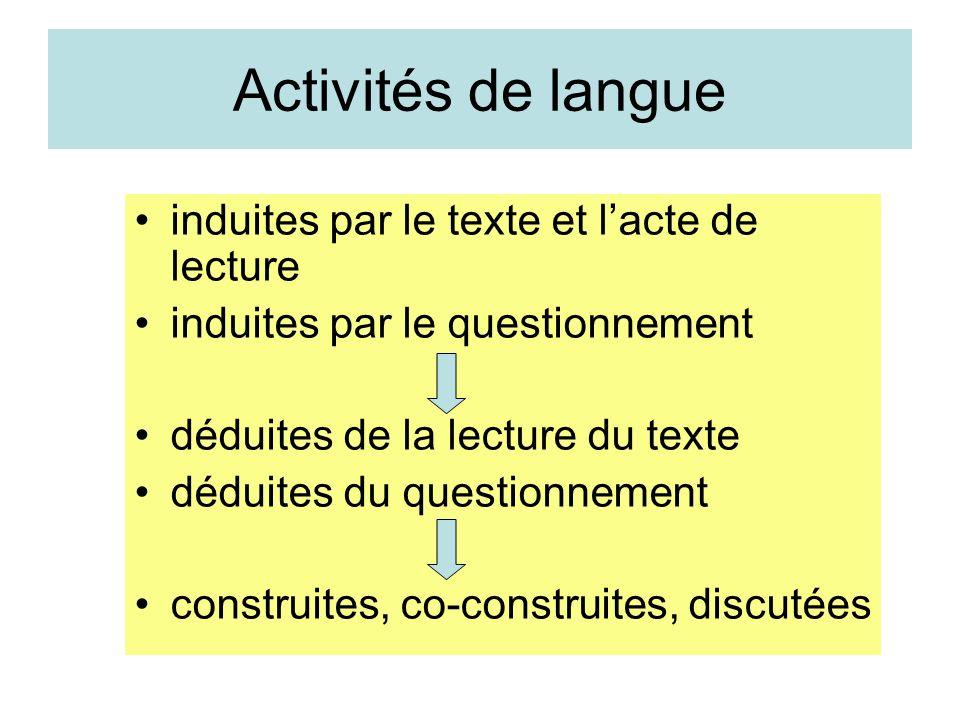 Activités de langue induites par le texte et lacte de lecture induites par le questionnement déduites de la lecture du texte déduites du questionnemen