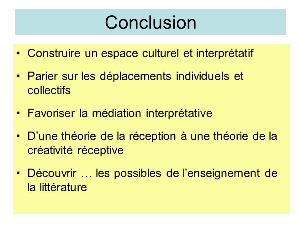 Conclusion Construire un espace culturel et interprétatif Parier sur les déplacements individuels et collectifs Favoriser la médiation interprétative