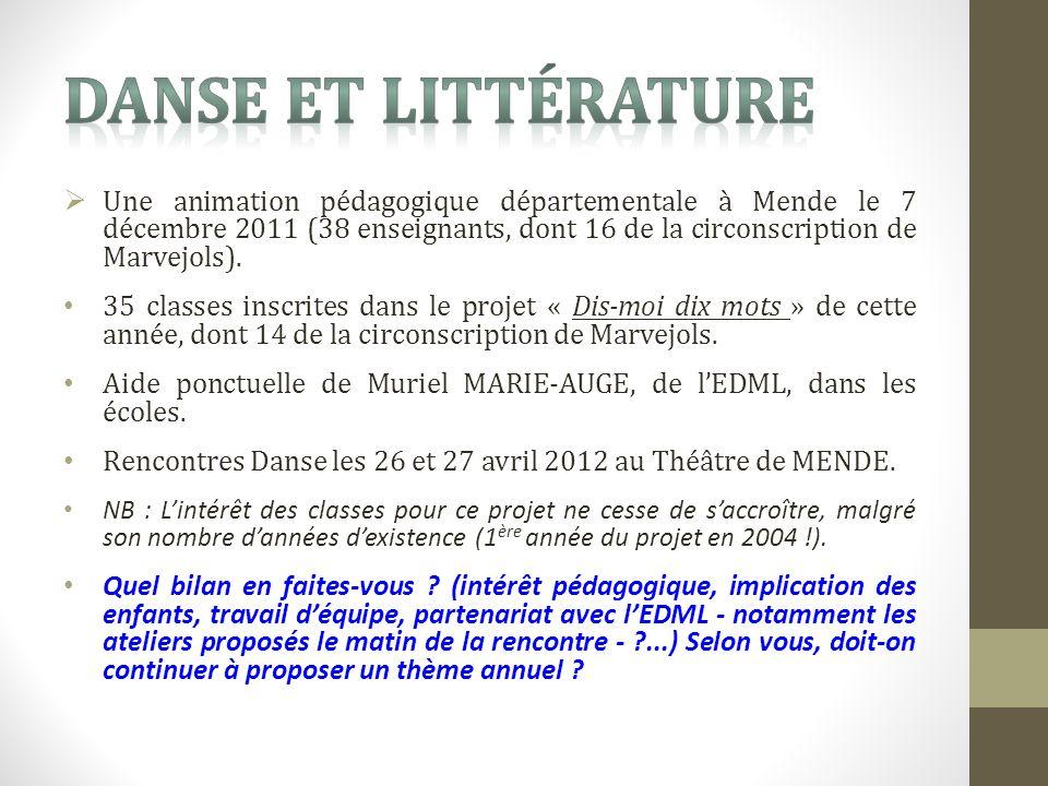 Une animation pédagogique départementale à Mende le 7 décembre 2011 (38 enseignants, dont 16 de la circonscription de Marvejols).