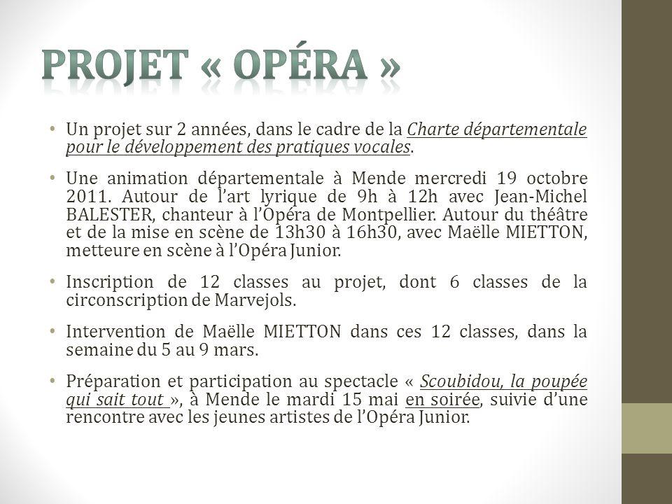Un projet sur 2 années, dans le cadre de la Charte départementale pour le développement des pratiques vocales.