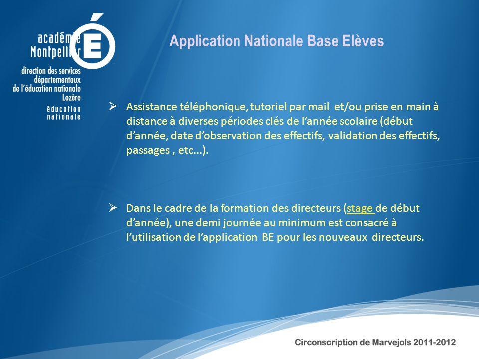 Application Nationale Base Elèves Assistance téléphonique, tutoriel par mail et/ou prise en main à distance à diverses périodes clés de lannée scolair