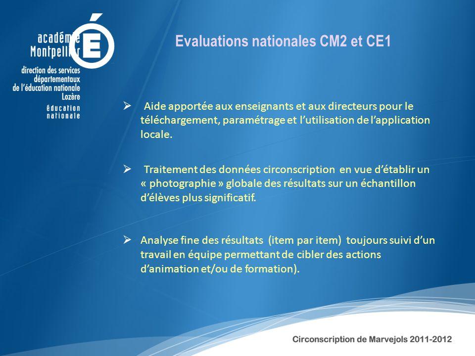 Evaluations nationales CM2 et CE1 Aide apportée aux enseignants et aux directeurs pour le téléchargement, paramétrage et lutilisation de lapplication