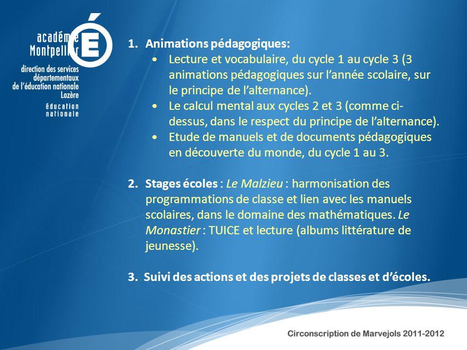 1.Animations pédagogiques: Lecture et vocabulaire, du cycle 1 au cycle 3 (3 animations pédagogiques sur lannée scolaire, sur le principe de lalternanc