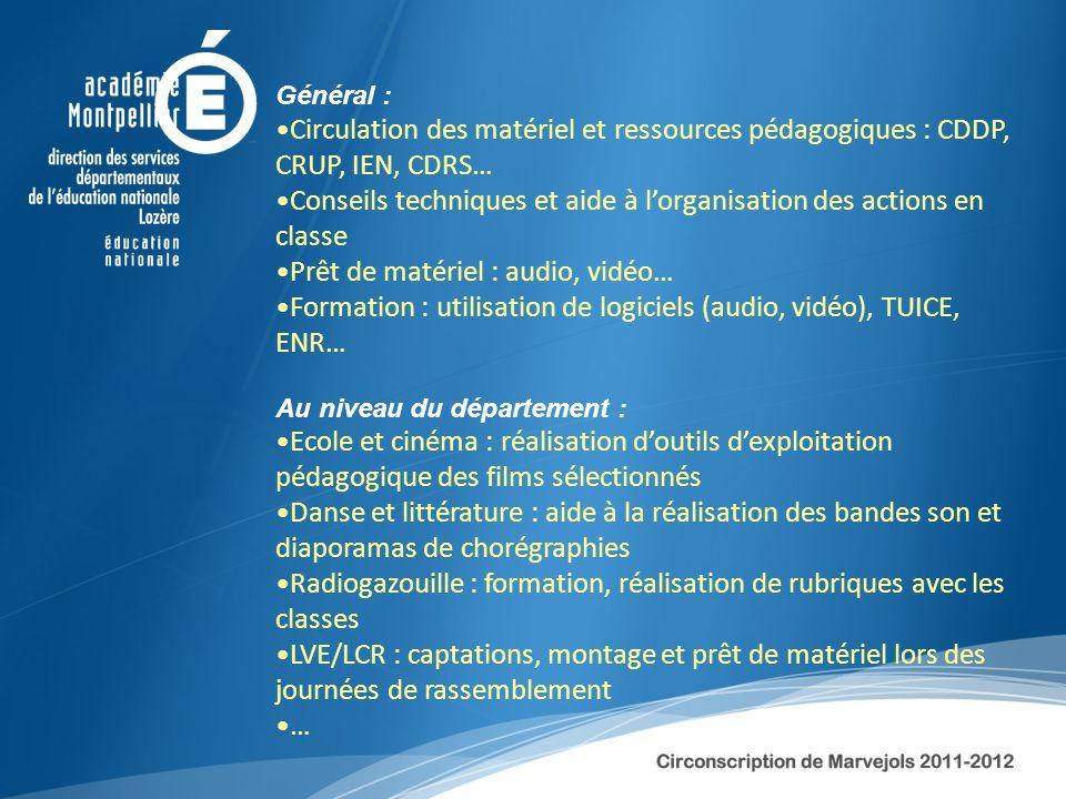 Général : Circulation des matériel et ressources pédagogiques : CDDP, CRUP, IEN, CDRS… Conseils techniques et aide à lorganisation des actions en clas