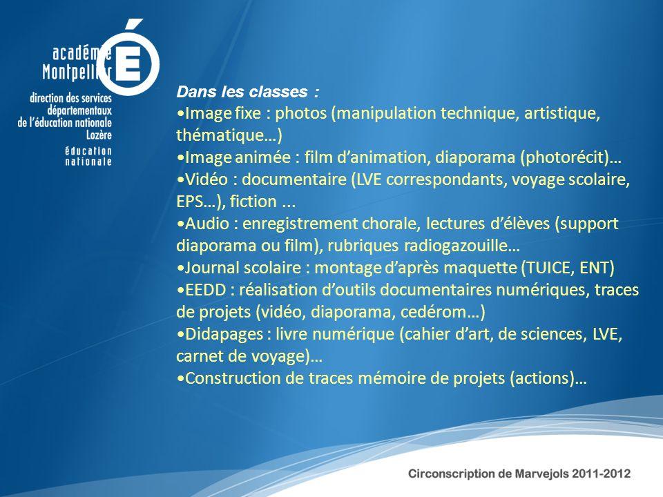 Dans les classes : Image fixe : photos (manipulation technique, artistique, thématique…) Image animée : film danimation, diaporama (photorécit)… Vidéo