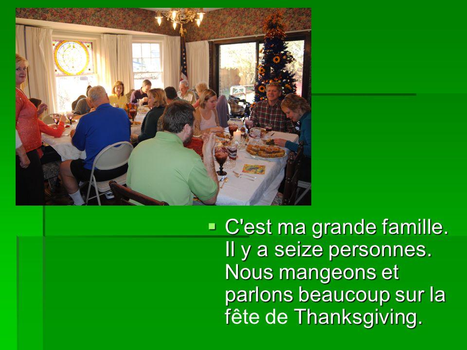 C'est ma grande famille. Il y a seize personnes. Nous mangeons et parlons beaucoup sur la f Thanksgiving. C'est ma grande famille. Il y a seize person