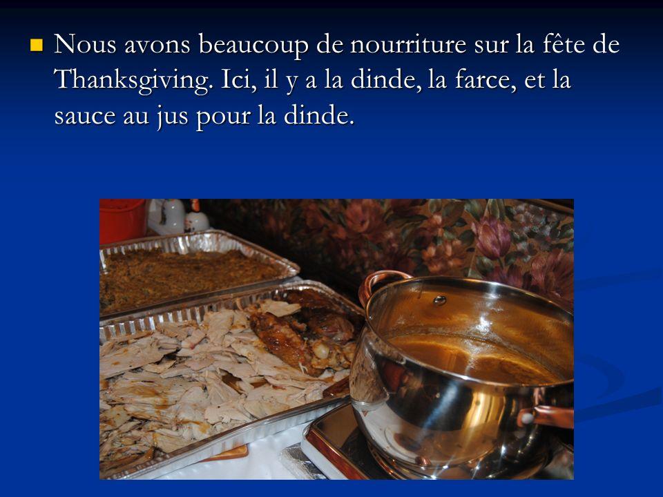 Nous avons beaucoup de nourriture sur la f Thanksgiving. Ici, il y a la dinde, la farce, et la sauce au jus pour la dinde. Nous avons beaucoup de nour