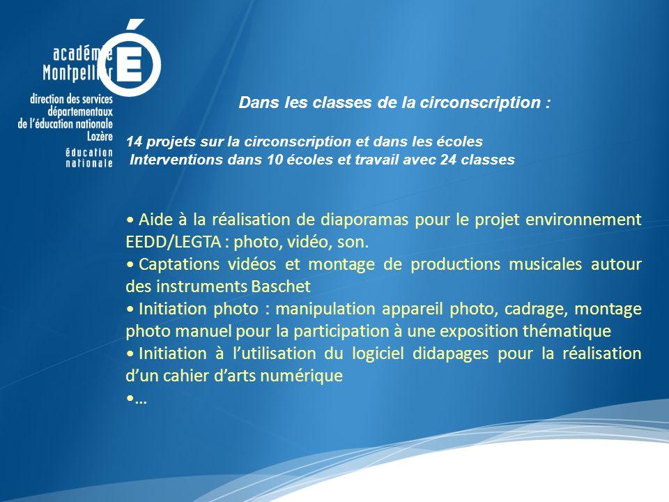 Dans les classes de la circonscription : 14 projets sur la circonscription et dans les écoles Interventions dans 10 écoles et travail avec 24 classes Aide à la réalisation de diaporamas pour le projet environnement EEDD/LEGTA : photo, vidéo, son.