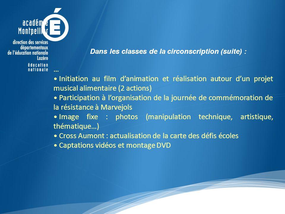 Dans les classes de la circonscription (suite) : … Initiation au film danimation et réalisation autour dun projet musical alimentaire (2 actions) Part