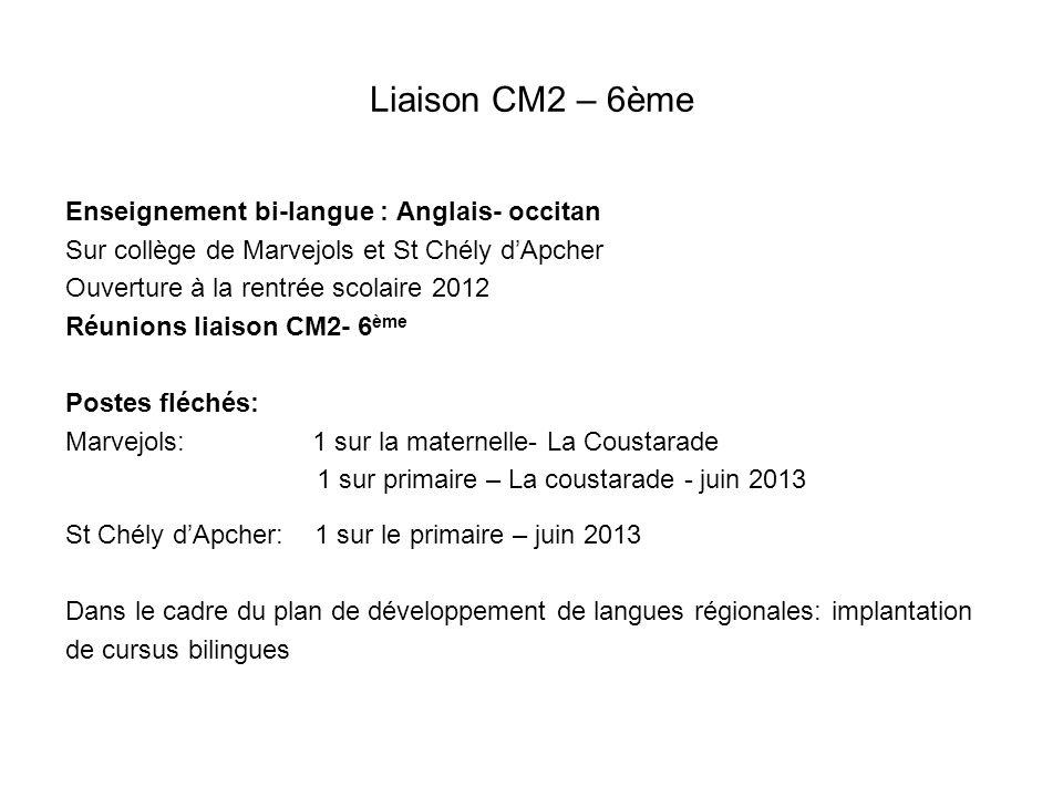 Liaison CM2 – 6ème Enseignement bi-langue : Anglais- occitan Sur collège de Marvejols et St Chély dApcher Ouverture à la rentrée scolaire 2012 Réunion