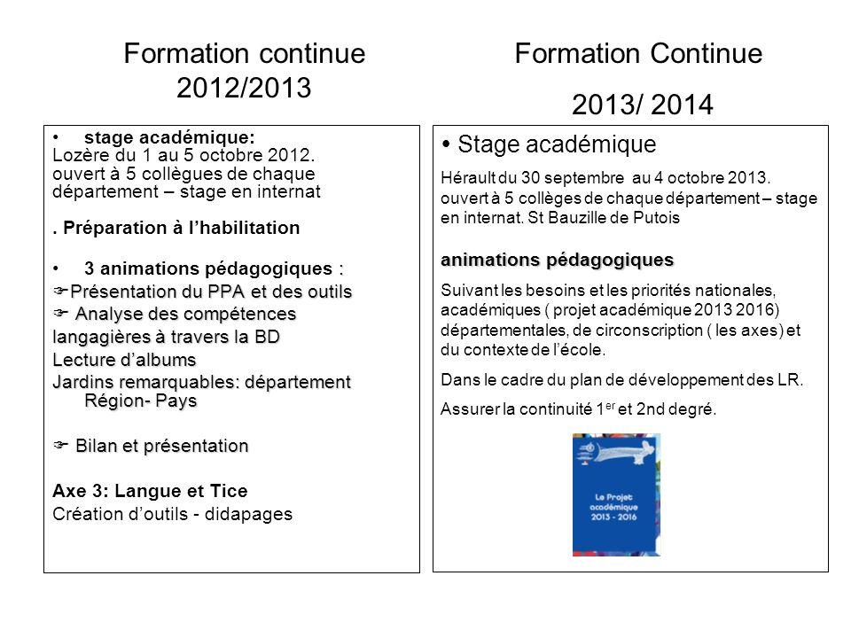 stage académique: Lozère du 1 au 5 octobre 2012. ouvert à 5 collègues de chaque département – stage en internat. Préparation à lhabilitation :3 animat