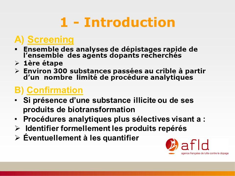 1 - Introduction A) Screening Ensemble des analyses de dépistages rapide de lensemble des agents dopants recherchés 1ère étape Environ 300 substances