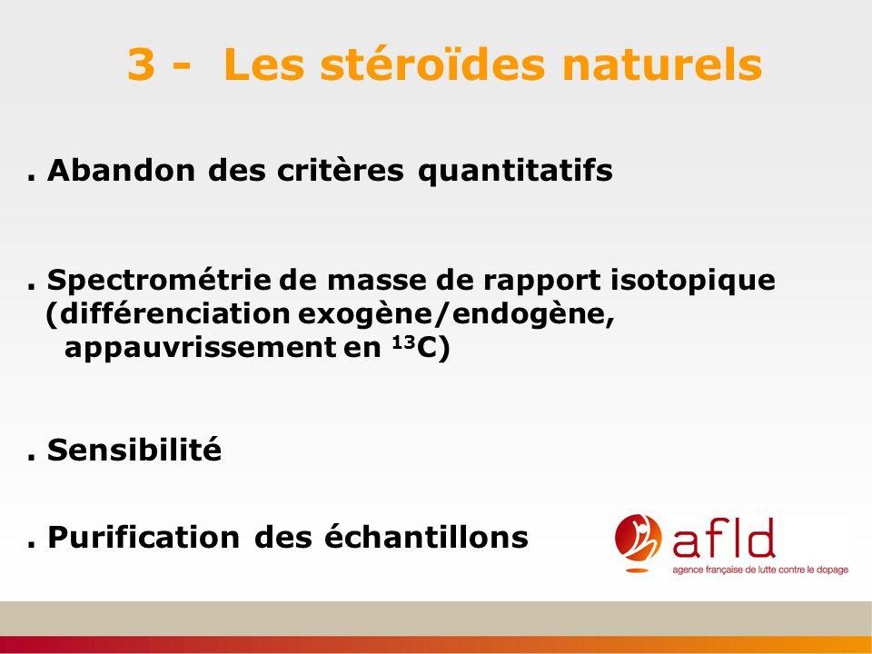 3 - Les stéroïdes naturels. Abandon des critères quantitatifs. Spectrométrie de masse de rapport isotopique (différenciation exogène/endogène, appauvr
