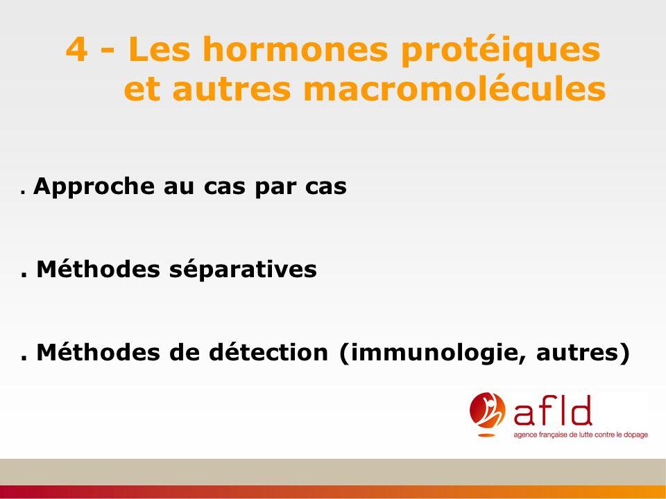 4 - Les hormones protéiques et autres macromolécules. Approche au cas par cas. Méthodes séparatives. Méthodes de détection (immunologie, autres)