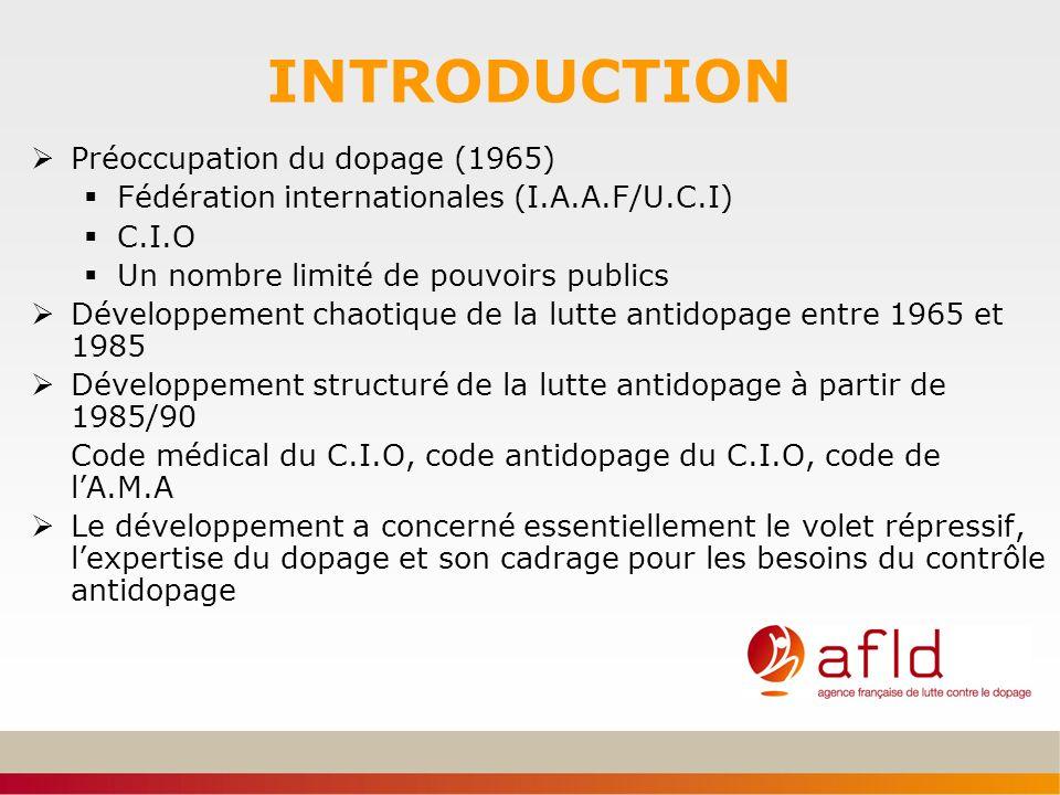 INTRODUCTION Préoccupation du dopage (1965) Fédération internationales (I.A.A.F/U.C.I) C.I.O Un nombre limité de pouvoirs publics Développement chaoti