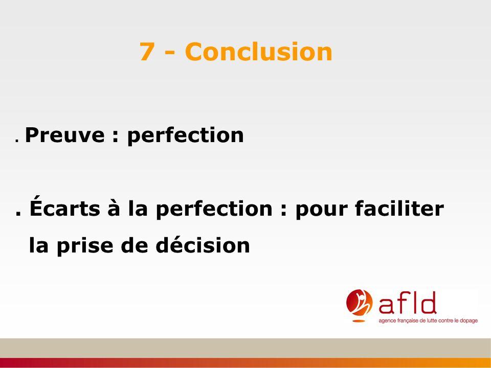 7 - Conclusion. Preuve : perfection. Écarts à la perfection : pour faciliter la prise de décision