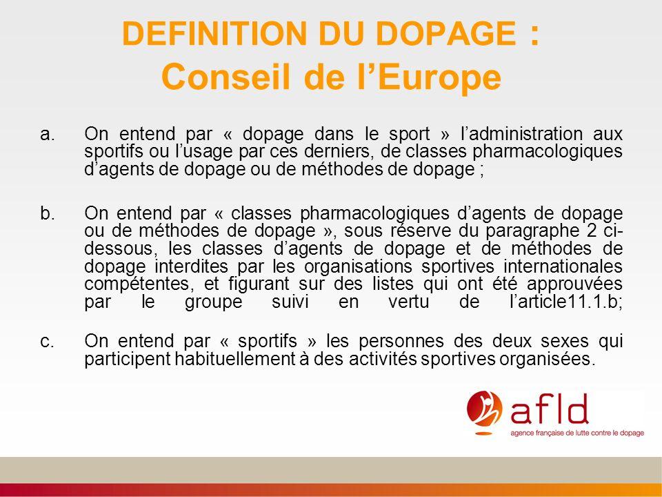 DEFINITION DU DOPAGE : Conseil de lEurope a.On entend par « dopage dans le sport » ladministration aux sportifs ou lusage par ces derniers, de classes