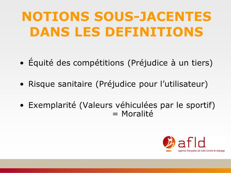 NOTIONS SOUS-JACENTES DANS LES DEFINITIONS Équité des compétitions (Préjudice à un tiers) Risque sanitaire (Préjudice pour lutilisateur) Exemplarité (
