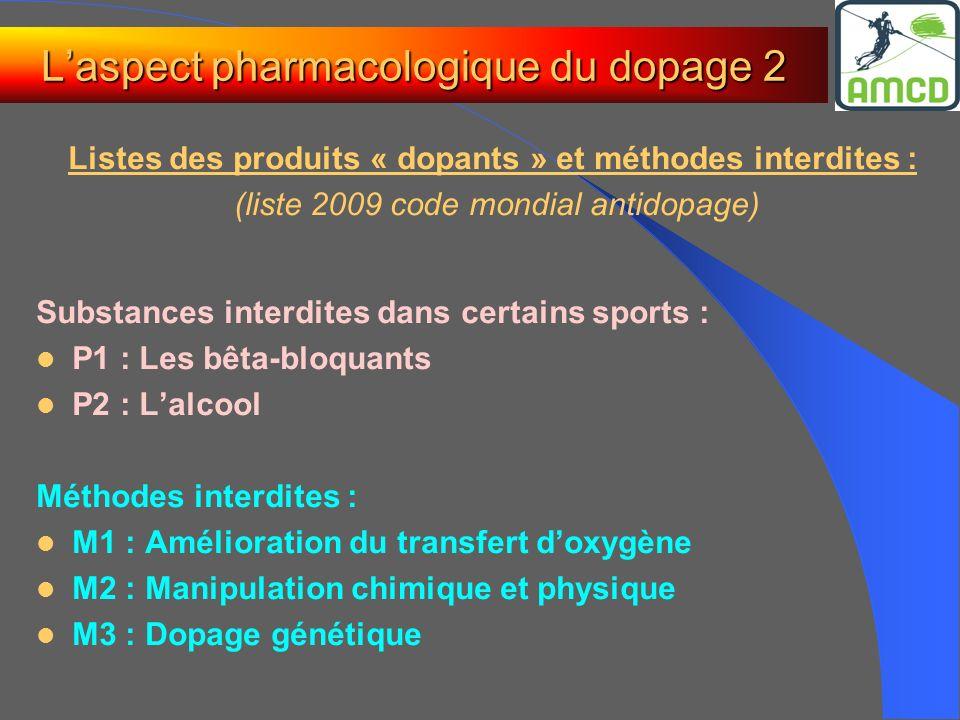 Laspect pharmacologique du dopage 2 Listes des produits « dopants » et méthodes interdites : (liste 2009 code mondial antidopage) Substances interdite