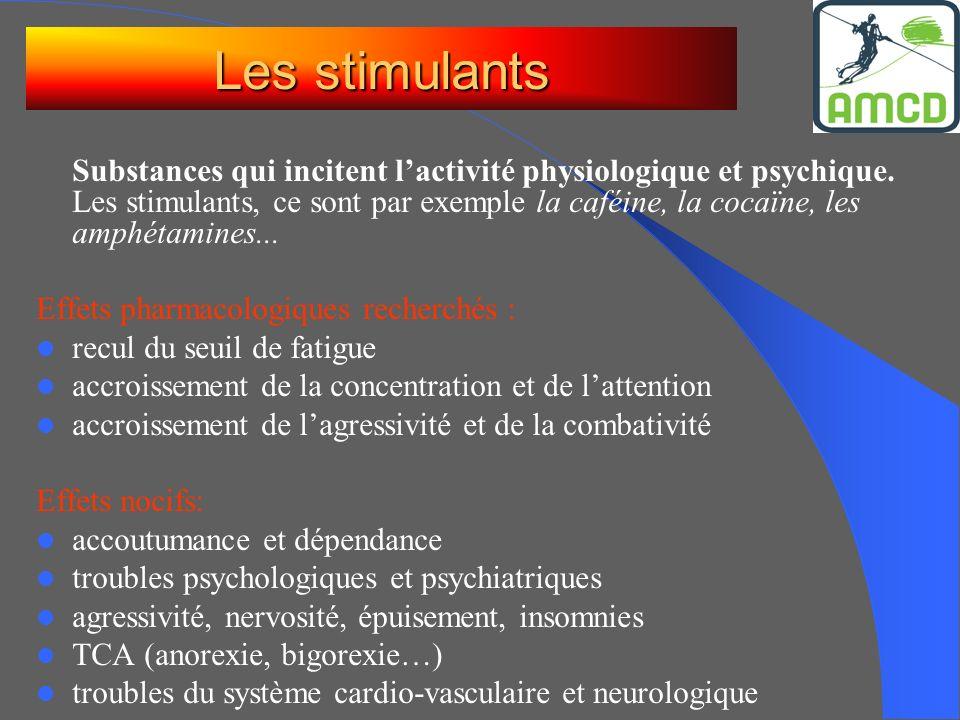 Substances qui incitent lactivité physiologique et psychique. Les stimulants, ce sont par exemple la caféine, la cocaïne, les amphétamines... Effets p