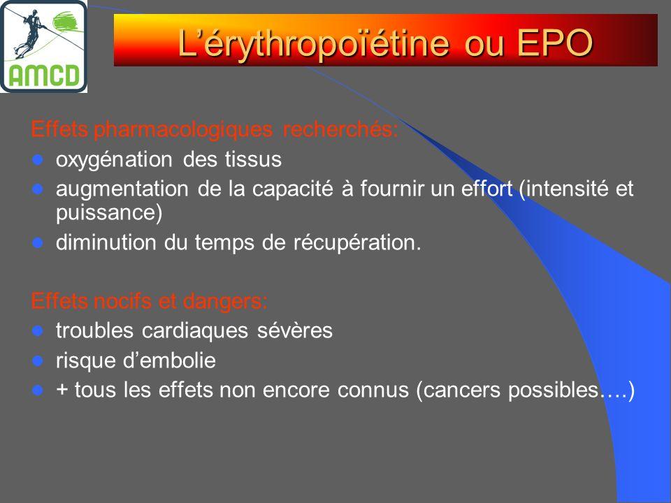 Effets pharmacologiques recherchés: oxygénation des tissus augmentation de la capacité à fournir un effort (intensité et puissance) diminution du temp