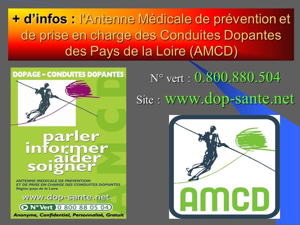 N° vert : 0.800.880.504 Site : www.dop-sante.net + dinfos : l'Antenne Médicale de prévention et de prise en charge des Conduites Dopantes des Pays de