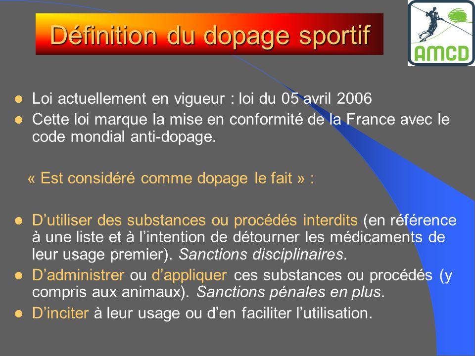Définition du dopage sportif Loi actuellement en vigueur : loi du 05 avril 2006 Cette loi marque la mise en conformité de la France avec le code mondi