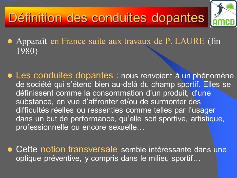 Définition des conduites dopantes Apparaît en France suite aux travaux de P. LAURE (fin 1980) Les conduites dopantes : nous renvoient à un phénomène d