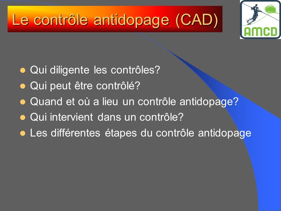 Le contrôle antidopage (CAD) Qui diligente les contrôles? Qui peut être contrôlé? Quand et où a lieu un contrôle antidopage? Qui intervient dans un co