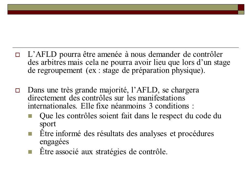 LAFLD pourra être amenée à nous demander de contrôler des arbitres mais cela ne pourra avoir lieu que lors dun stage de regroupement (ex : stage de préparation physique).