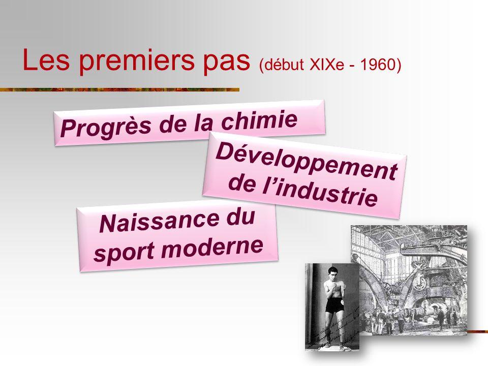 Les premiers pas (début XIXe - 1960) Progrès de la chimie Naissance du sport moderne Développement de lindustrie