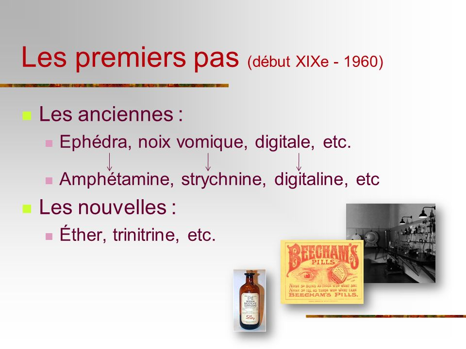 Les anciennes : Ephédra, noix vomique, digitale, etc. Amphétamine, strychnine, digitaline, etc Les nouvelles : Éther, trinitrine, etc. Les premiers pa