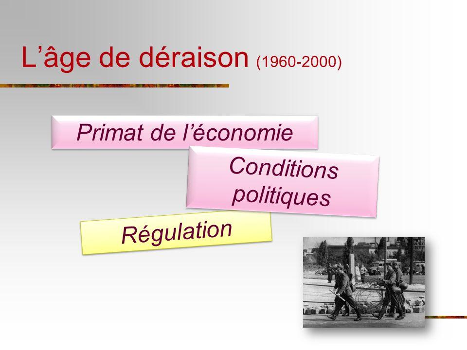 Lâge de déraison (1960-2000) Primat de léconomie Régulation Conditions politiques
