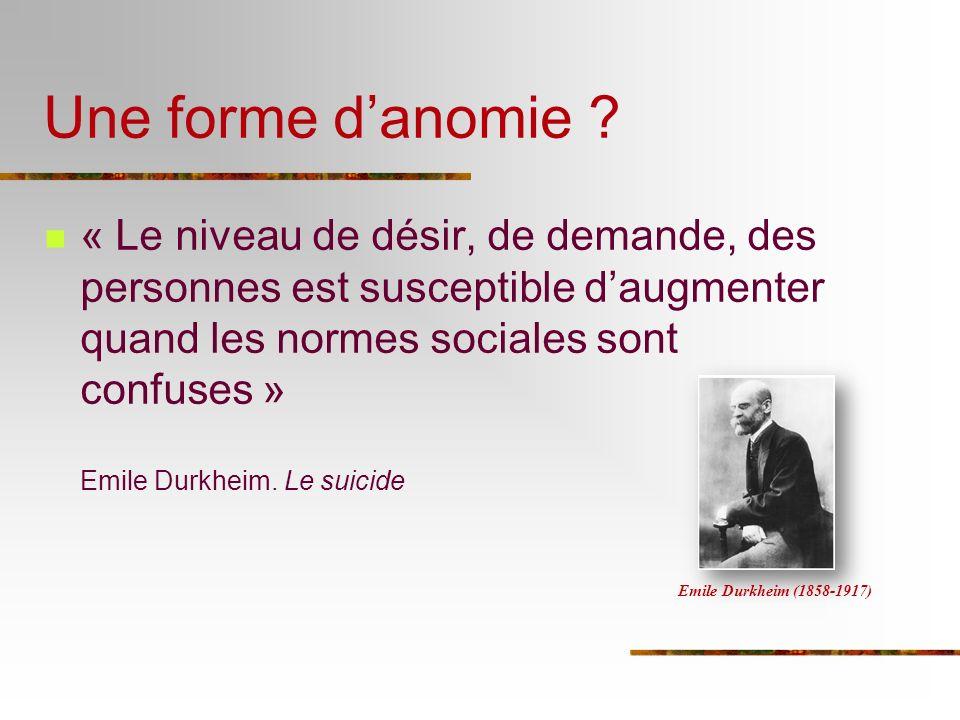 Une forme danomie ? « Le niveau de désir, de demande, des personnes est susceptible daugmenter quand les normes sociales sont confuses » Emile Durkhei