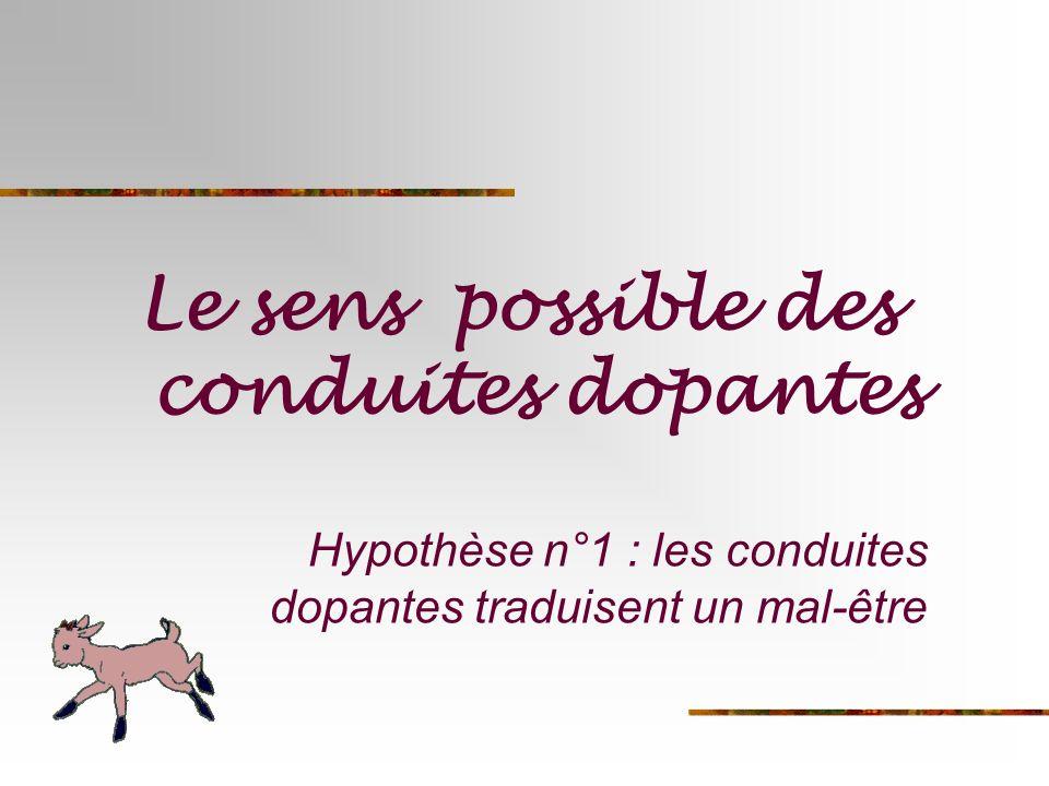 Hypothèse n°1 : les conduites dopantes traduisent un mal-être
