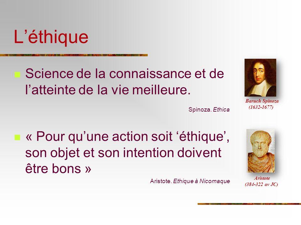 Léthique Science de la connaissance et de latteinte de la vie meilleure. Spinoza. Ethica « Pour quune action soit éthique, son objet et son intention