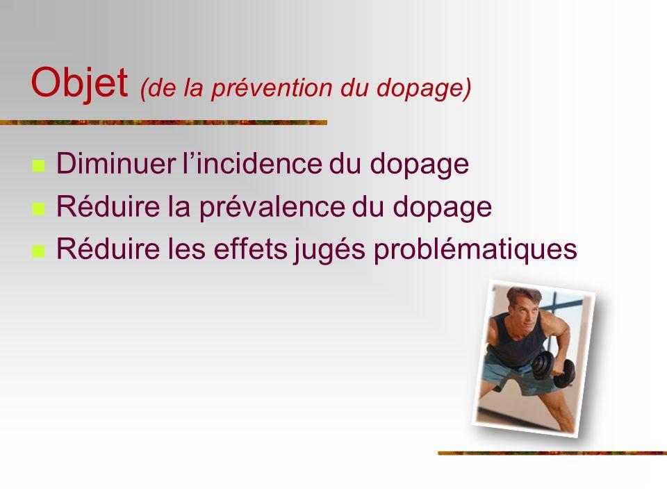Objet (de la prévention du dopage) Diminuer lincidence du dopage Réduire la prévalence du dopage Réduire les effets jugés problématiques