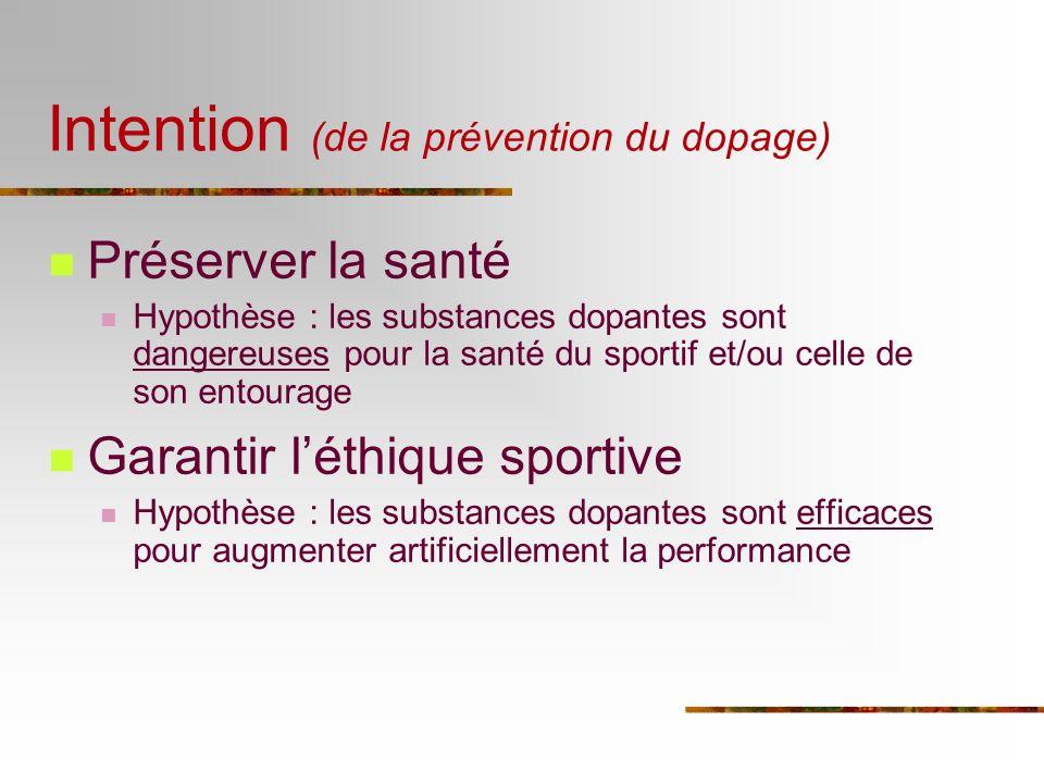Intention (de la prévention du dopage) Préserver la santé Hypothèse : les substances dopantes sont dangereuses pour la santé du sportif et/ou celle de
