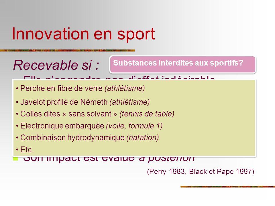 Innovation en sport Recevable si : Elle nengendre pas deffet indésirable inacceptable Elle diminue un effet indésirable existant Elle augmente les per