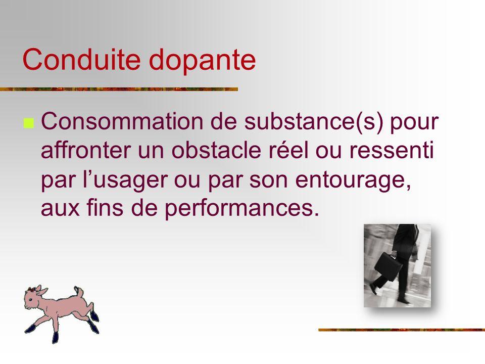 Consommation de substance(s) pour affronter un obstacle réel ou ressenti par lusager ou par son entourage, aux fins de performances. Conduite dopante