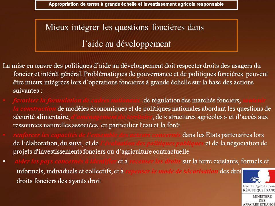 La mise en œuvre des politiques daide au développement doit respecter droits des usagers du foncier et intérêt général. Problématiques de gouvernance