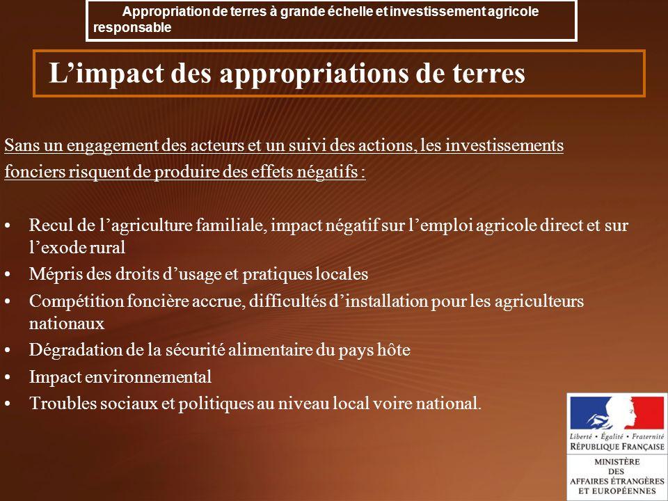 Sans un engagement des acteurs et un suivi des actions, les investissements fonciers risquent de produire des effets négatifs : Recul de lagriculture