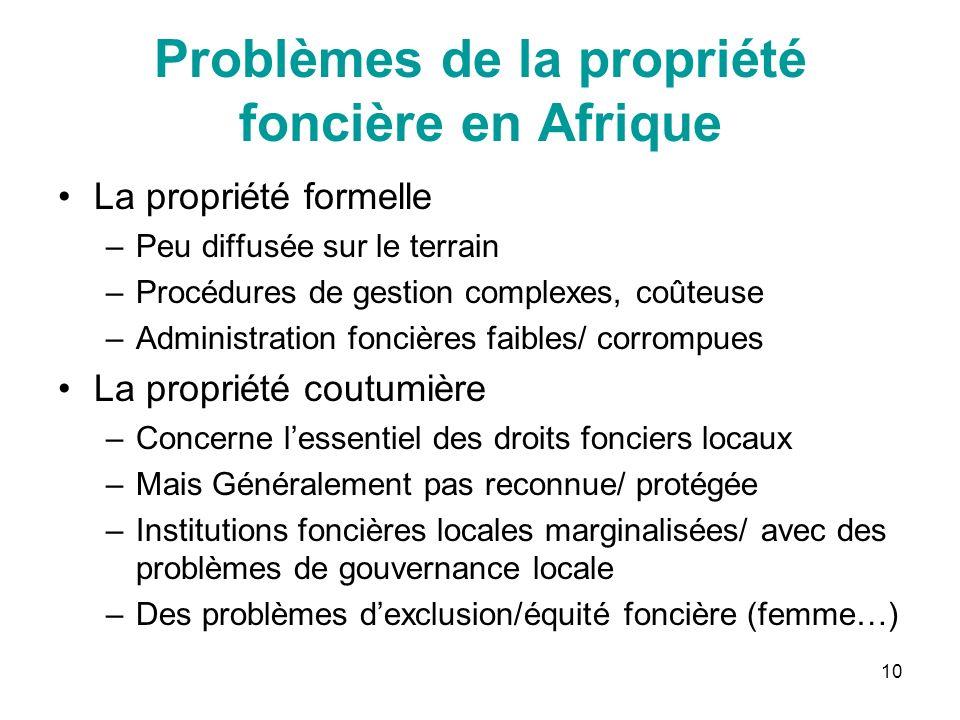 10 Problèmes de la propriété foncière en Afrique La propriété formelle –Peu diffusée sur le terrain –Procédures de gestion complexes, coûteuse –Admini