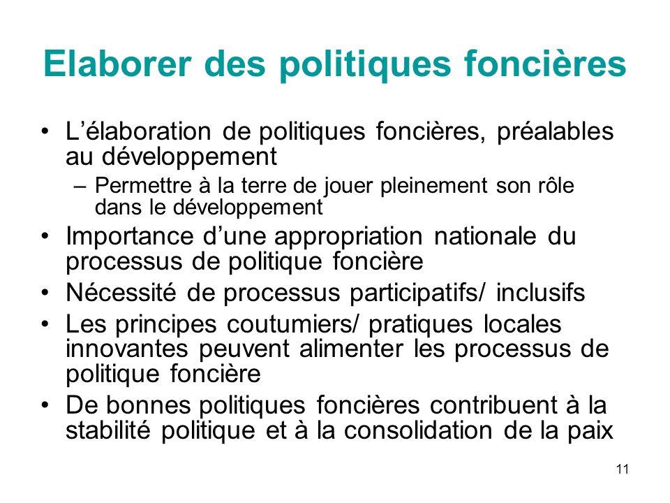 11 Elaborer des politiques foncières Lélaboration de politiques foncières, préalables au développement –Permettre à la terre de jouer pleinement son r
