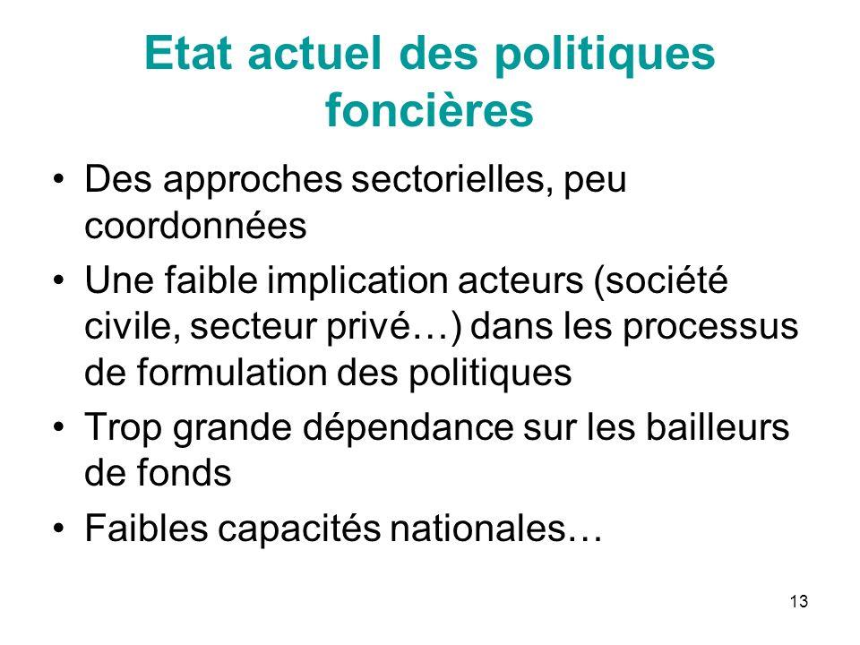 13 Etat actuel des politiques foncières Des approches sectorielles, peu coordonnées Une faible implication acteurs (société civile, secteur privé…) da